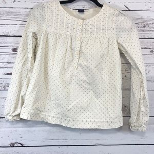 Creme Long Sleeve Cuffed Shirt with Gray Stars